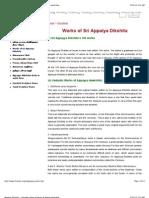 Appayya Dikshita - Complete Listing of Works of Apayya Deekshita