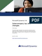 Intercompany Tax API Changes