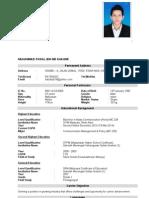Resume Muhammad Faisal Bin Md Shahimi