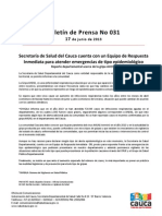 Boletín 031_ Secretaría de Salud del Cauca cuenta con un Equipo de Respuesta Inmediata para atender emergencias de tipo epidemiológico