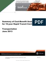 Cost-Benefit Analysis, Calgary Transit Corridors