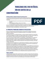 Algunos problemas del uso de Excel en la gestión de costes en la construcción