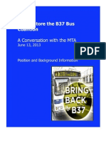 Restore the B37 Bus Coalition Position and Background Information