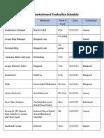 DMS Entertainment Production Schedule