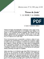 Teresa de Jesús I- La mujer y la Iglesia
