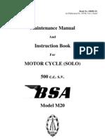Vintage BSA M20 500 cc motorcycle Maintenance Manual