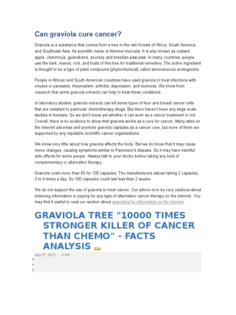Can Graviola Cure Cancer ? | Cancer | Medicine