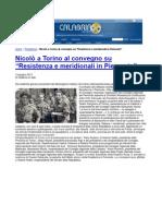 Convegno meridionali e resistenza. Rassegna stampa regione Calabria. CALABRIA ON WEB