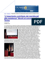 Convegno meridionali e resistenza 16/06/2013. Rassegna stampa regione Calabria. CALABRIA ON WEB