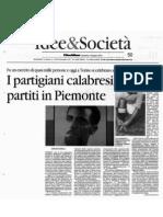 Convegno Meridionali e Resistenza 16/06/2013. Rassegna stampa regione Calabria. IL QUOTIDIANO