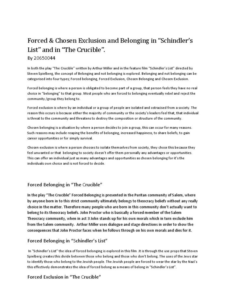 The Crucible Belonging Essay Questions