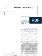 Autonomia Municipal Centralizacao e Liberdade