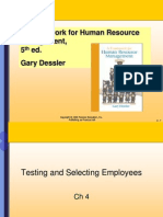 Dessler_ch4Testing and Selecting Employees