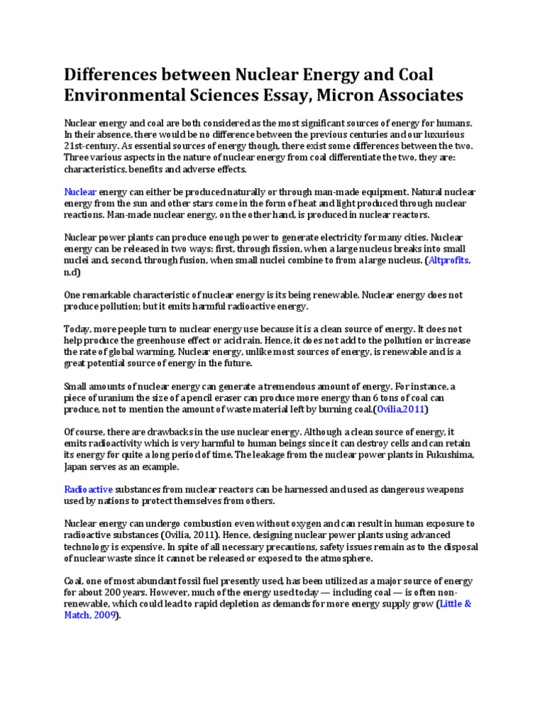 differences between nuclear energy and coal environmental sciences  differences between nuclear energy and coal environmental sciences essay micron associates nuclear power coal