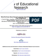 What We Know About Second Language Acquisition