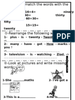 -Read and Match the Words With the Number 16+4=