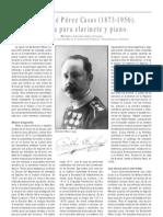 Bartoloméz Pérez Casas. Su obra para clarinete y piano. Por P. Francisco Rubio