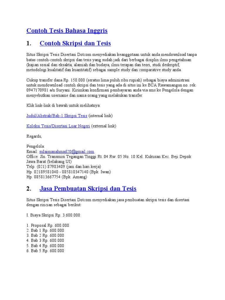 Contoh Tesis Dalam Bahasa Inggris Contoh Soal Dan Materi Pelajaran 7