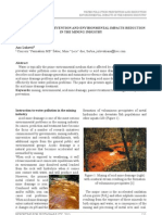 Water Pollution Prevention and Environmental Impacts Reduction in the Mining Industry