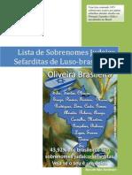 Lista de Sobrenomes Judaico Sefarditas de Luso-Brasileiros - Comunidade de Israel