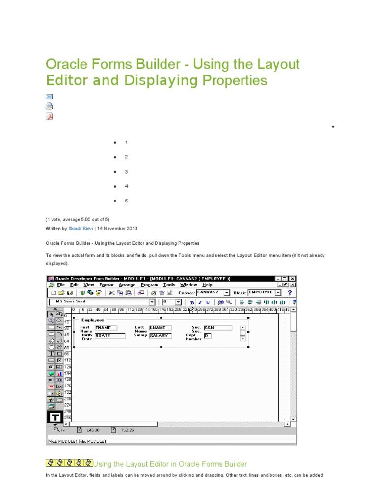 Oracle Forms Builder | Menú (Informática) | Software de
