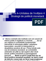 Tema 4. Strategii de Politica Monetara Din Experienta Internationala
