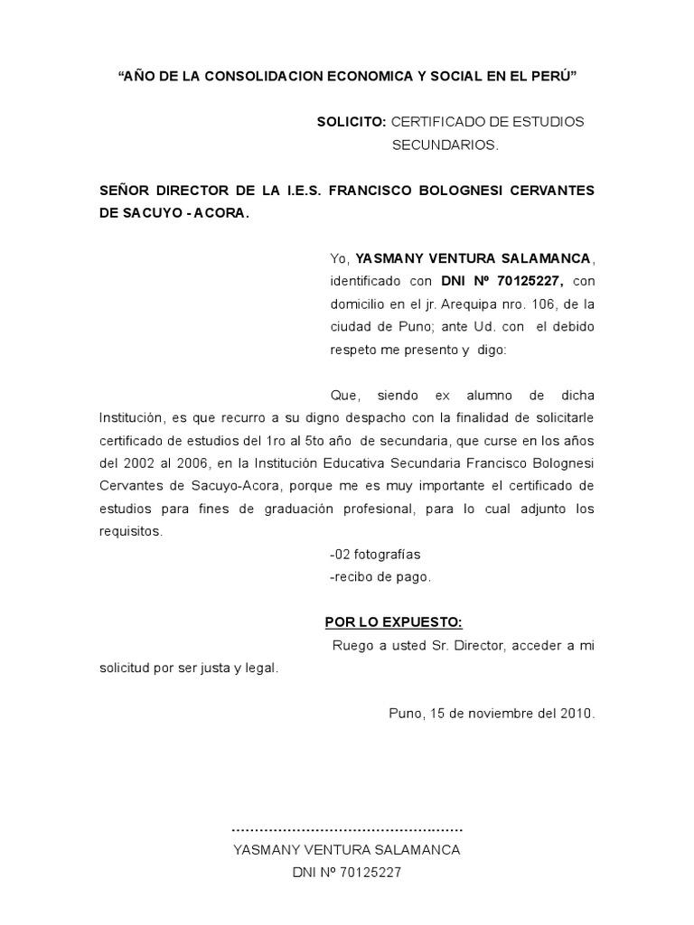 Modelo De Carta De Solicitud En El Peru Globeooffer Com