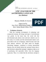 Pragmatic Analysis of the Advertising Language. Abstract