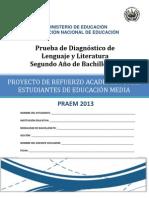 Prueba de diagnóstico de  Lenguaje y Literatura  Segundo Año de Bachillerato - 2013