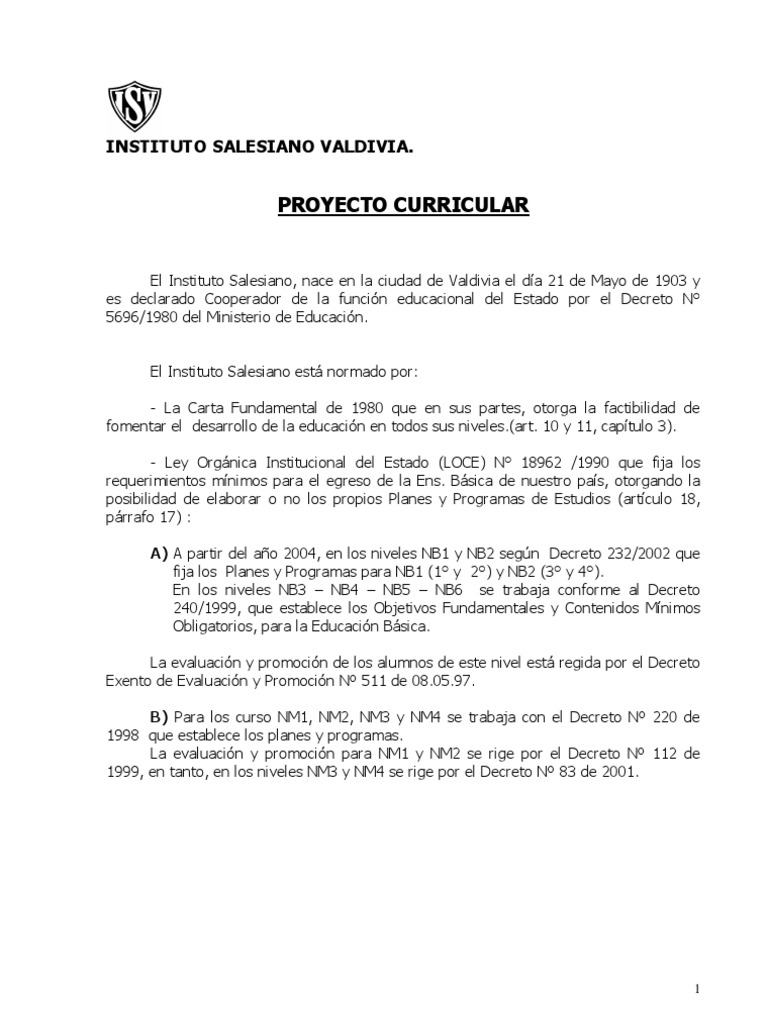 Proyecto Curricular Isv