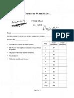 Chem 3A Final Exam Answer Key 2012