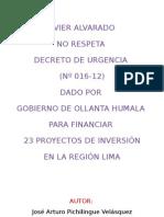 Javier Alvarado Desconoce Decretos de Urgencia
