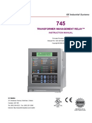 GE Transformer Management Relay Instruction Manual (Hay