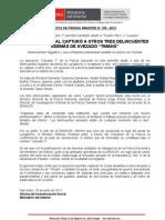 """POLICÍA NACIONAL CAPTURÓ A OTROS TRES DELINCUENTES ADEMÁS DE AVEZADO """"TIMANÁ"""""""