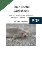 Three ESOL Worksheets by Dana Rosenberg Photocopiable
