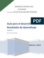 GUÍA PARA EL DESARROLLO Y EVALUACIÓN DE RESULTADOS DE APRENDIZAJE