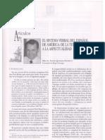 El sistema verbal del español de América.  De la temporalidad a la aspectualidad. Quesada Pacheco. Español actual, 75/2001