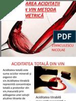 Determinarea Totala a Aciditatii Vinului
