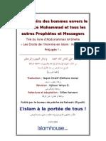Les devoirs des hommes envers le Prophète Muhammad et tous les autres Prophètes et Messagers