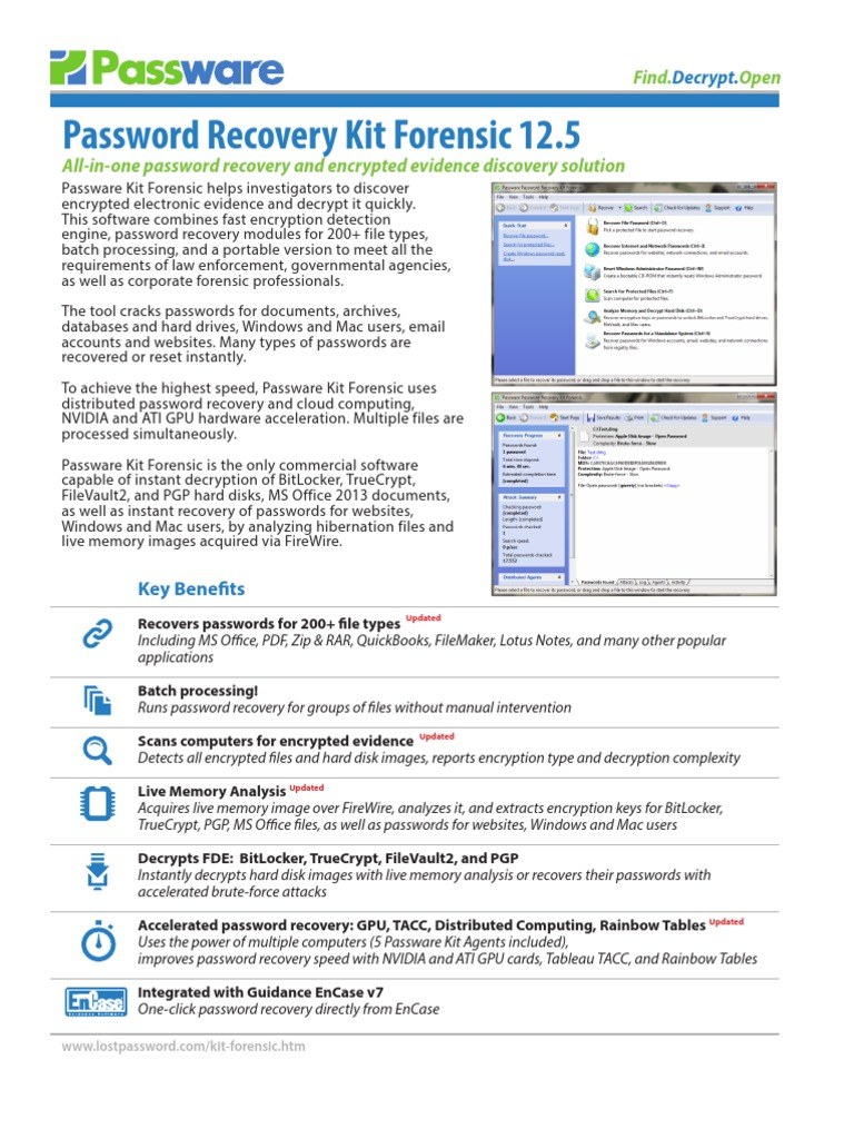 passware password recovery kit forensic key