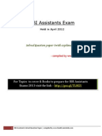 RBI Assistants Exam Previous Year Solved Paperadsfgadfg