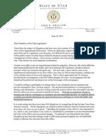 John Swallow letter to Utah Legislature