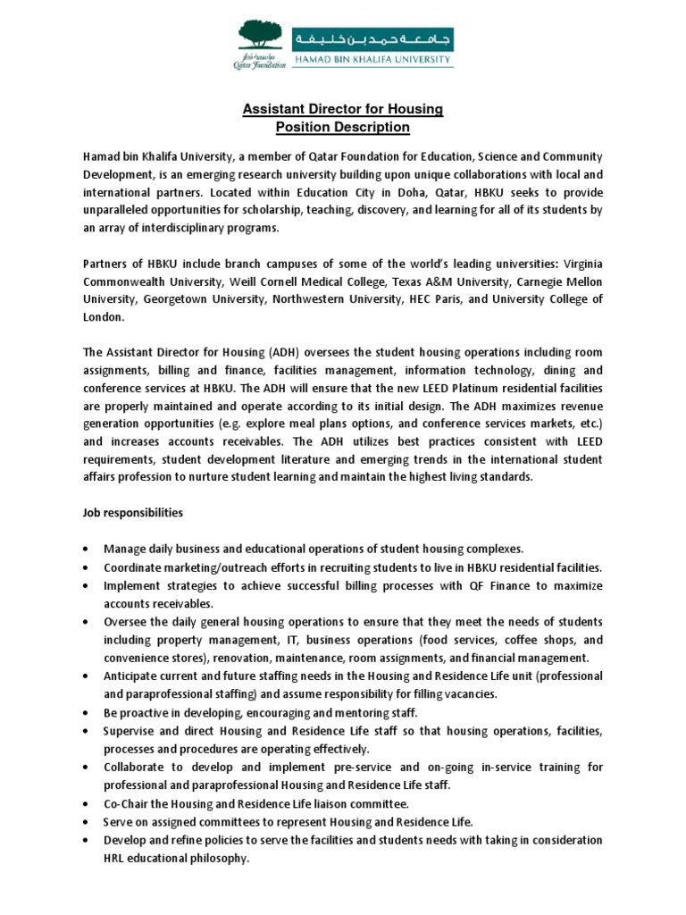 Assistant Director Housing 2013   Final | Qatar | Academia