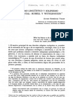 Solipsismo Linguistico y Solipsismo Trascendental Russell y Wittegenstein