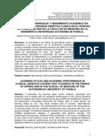 37.Estilos de Aprendizaje y Rendimiento Academico en Alumnos Que Cursaron Genetica Clinica en El Periodo Primavera 2009