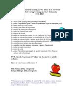 liste du matériel scolaire 2013-2014 au CAHM