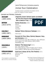 Summer Sun Celebration Program