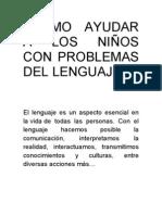 COMO AYUDAR A LOS NIÑOS CON PROBLEMAS DEL LENGUAJE