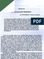 Texto 41 Berger y Luckman - Socialización primaria