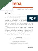Comunicado a los Consejeros Estatales - MORENA Estado de México